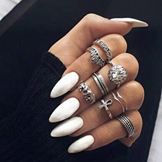 MISUD Almond Fake Nails 24 Pcs Stiletto Sharp Shape Press-on White Glossy Wearable Style Fake Nails - Athena white