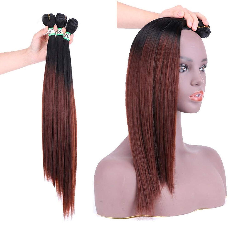 時計回り硬化する活力BOBIDYEE ヘアエクステンションウィーブバンドル - T1 / 33#ブラウンヘアーナチュラルヘア横糸ストレートクリップなし(3バンドル、210g)合成髪レースかつらロールプレイングウィッグロング&ショート女性自然 (色 : ブラウン, サイズ : 16