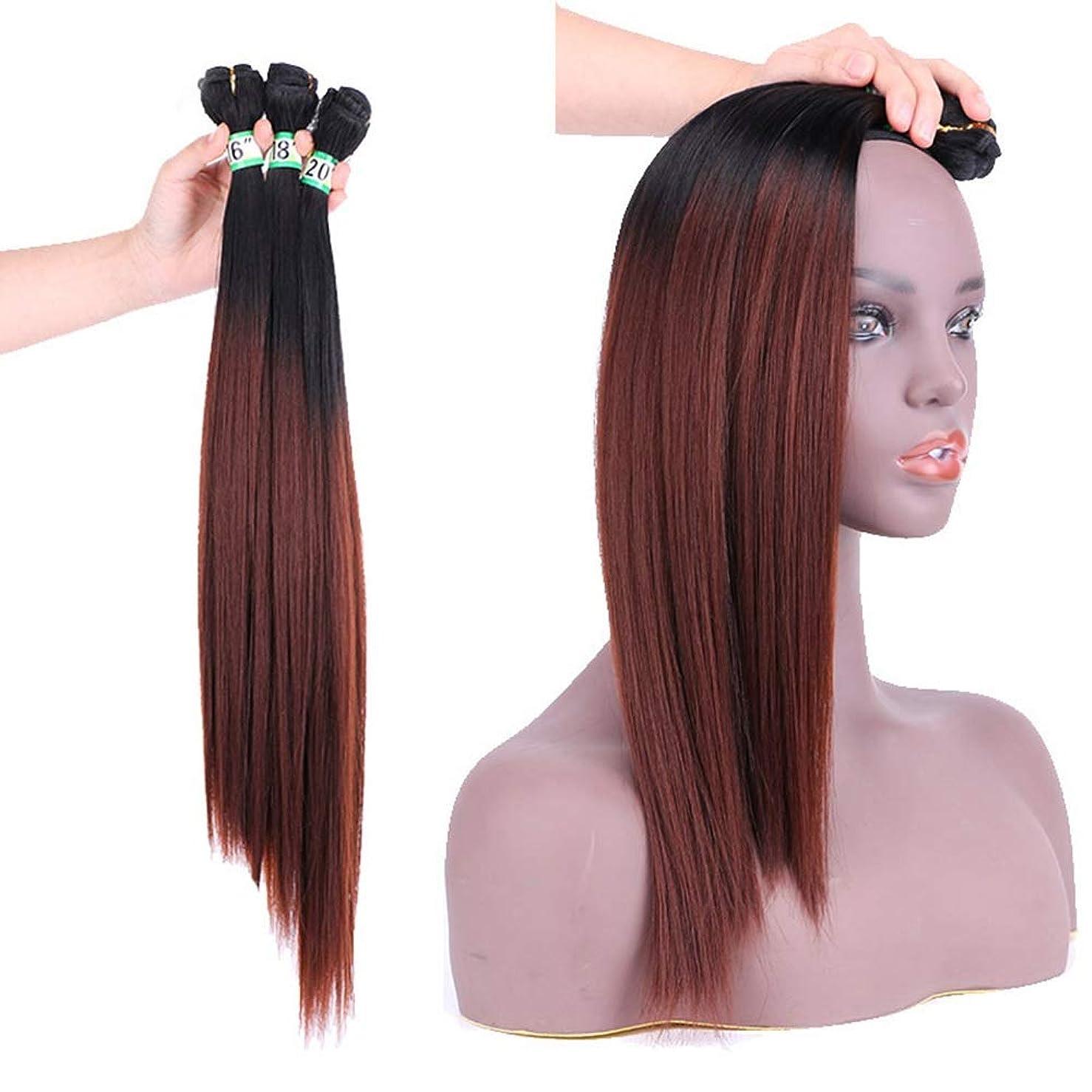 モノグラフ検査官黒BOBIDYEE ヘアエクステンションウィーブバンドル - T1 / 33#ブラウンヘアーナチュラルヘア横糸ストレートクリップなし(3バンドル、210g)合成髪レースかつらロールプレイングウィッグロング&ショート女性自然 (色 : ブラウン, サイズ : 16