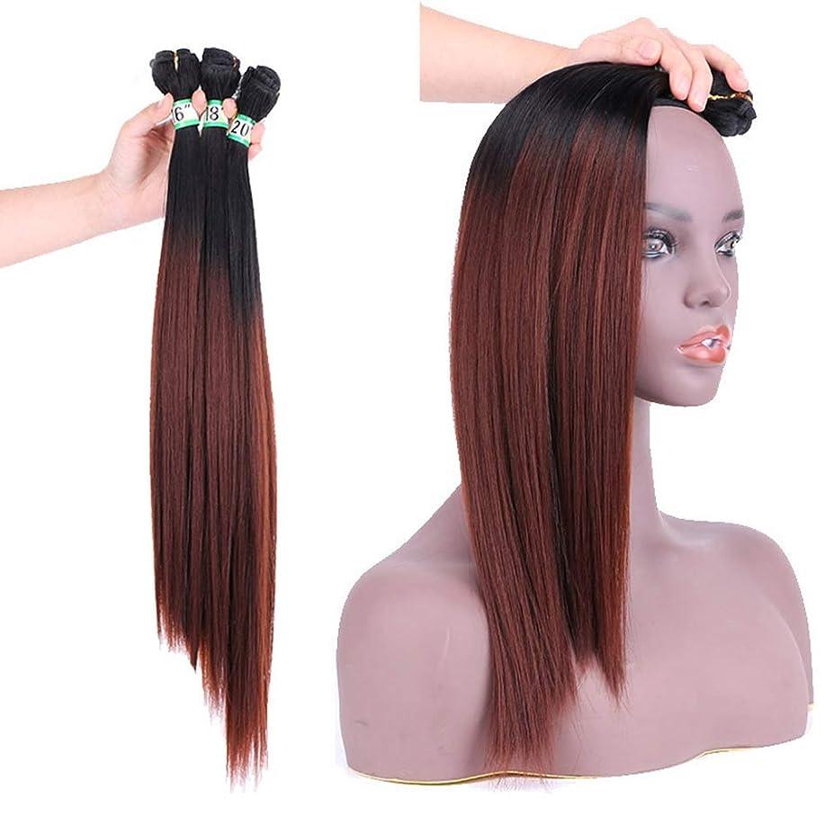 ポスターに向けて出発計り知れないBOBIDYEE ヘアエクステンションウィーブバンドル - T1 / 33#ブラウンヘアーナチュラルヘア横糸ストレートクリップなし(3バンドル、210g)合成髪レースかつらロールプレイングウィッグロング&ショート女性自然 (色 : ブラウン, サイズ : 16