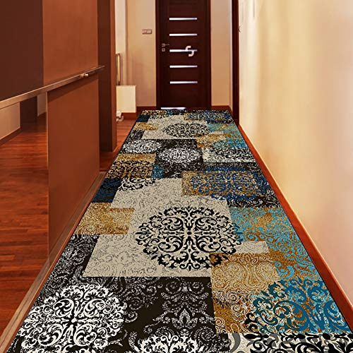 Modern Floral Patchwork Rugs - Carpet Runner for Hallway Entryway | Non Slip Stain-Resistant Soft Large Small Area Rug, 60cm/80cm/100cm/120cm/140cm Wide (Size : 100×500cm(3.2×16.4ft))