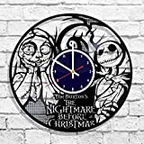 The Nightmare Before Christmas Animated Handmade Vinyl Record Wall Clock, Get Unique Bedroom or Nursery Wall Decor - Gift Ideas for Kids and Teens - Unique Art Design