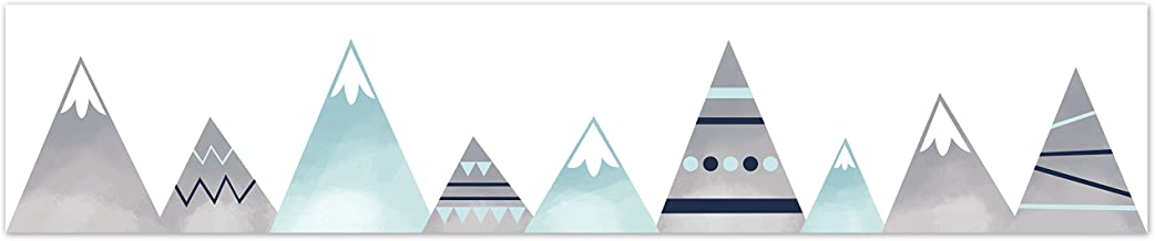 Navy Blue, Aqua and Grey Aztec Wallpaper Wall Border for Mountains Collection by Sweet Jojo Designs