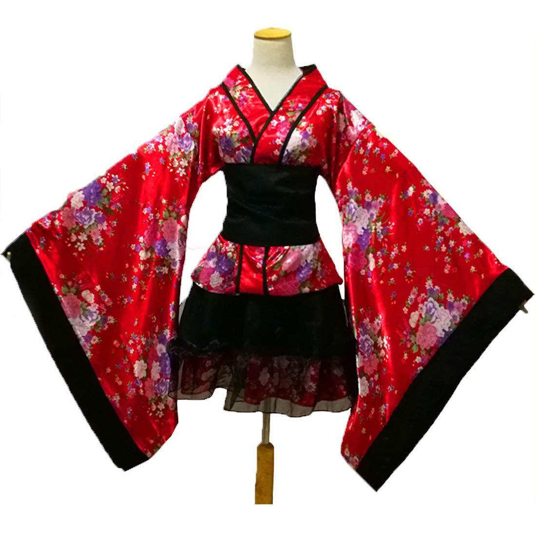 MUXIXI Lolita Cosplay Traje del Kimono con Falda de Volantes, la ...