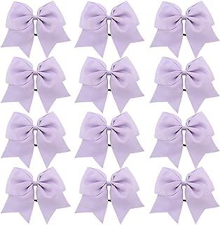 CHLONG Large Cheer Bows Girls Ponytail Holder Grosgrain Hair Bows Softball Dance Team Cheer Squad 12pcs (Lightpurple)