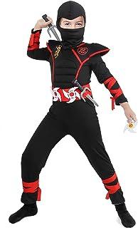 Tacobear Déguisement Ninja Costume Enfant Soldat Ninjas Assassin Déguisements Halloween Toussaint Party Soirée 3-12 Ans (M...