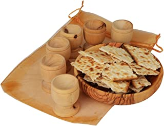 The Jerusalem Gift Shop The Lord's Supper - Olive Wood Bread Tray with Six Olive Wood Cups in Gift Bag