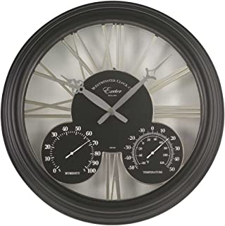 Altuna 5061001Exeter Clock with Thermometer Black