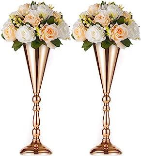 Nuptio 2 Pcs Tabletop Metal Wedding Flower Trumpet Vase, Table Decorative Centerpiece, Artificial Flower Arrangements for Anniversary Ceremony Party Birthday Event Aisle Home Decoration