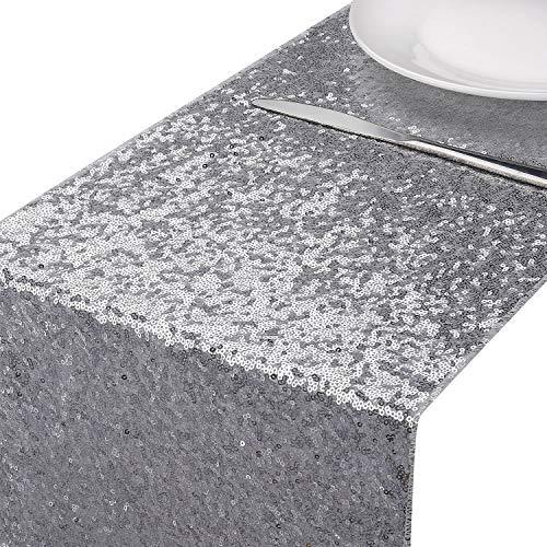 MengH-SHOP Tischläufer Pailletten Silber Tischdecken Tischfahne Dekoration für Party Hochzeit Geburtstag Baby Duschen 30 * 280cm
