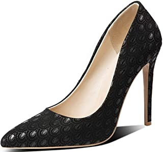 Pointed Embossed High Heels For Banquet Wedding Dress Daily (Color : Black, Size : 42)