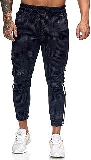 Mxssi Pantaloni da Uomo Pied de Poule Casual Autunno Inverno Pantaloni Slim Fit a Matita Pantaloni Sportivi da Jogging Pantaloni Sportivi