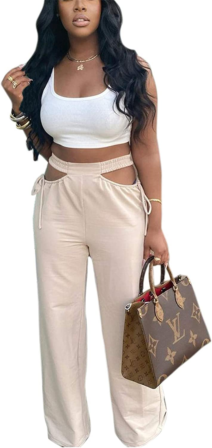 Women's Cut Out Wide Leg Pants High Waist Side Cutout Relaxed Fit Straight Flare Trousers Pant with Drawstring