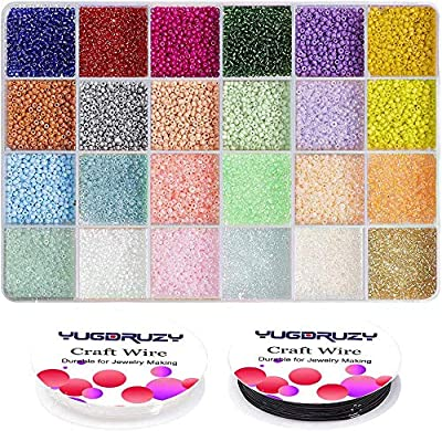 Multicolor Beading Glass Seed Beads Bulk- Pony Beads Kit Small Tube Round Beads Assorted Kit Opaque Colors Beads Supplies with Crystal Rope