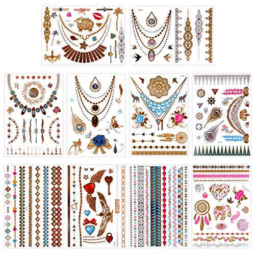 Lady Up 10 Sheets Metallic Temporary Tattoos Flash Gold Silver Multi-Colored Jewelry Body Art Stickers with 75+ Designs for Women Men Girls Kids (21X15cm)