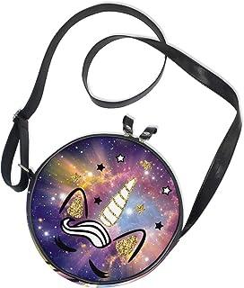 Ahomy Runde Tasche klein für Frauen – Nebel Starry Unicorn Galaxy Damen Mode Crossbody Tasche Umhängetasche