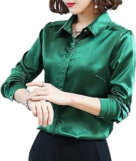Women's Silk Blouse Long Sleeve Lady Shirt Casual Office Work Blouse Shirt Tops
