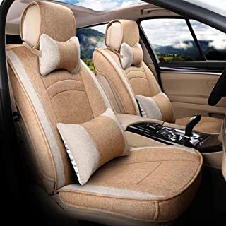 JKHOIUH Universal Fit Full Set Flat Cloth Flax Funda de asiento de automóvil, Fit Malibu Cruze Funda de asiento Combo Set Funda de asiento de automóvil Universal GM Funda de asiento