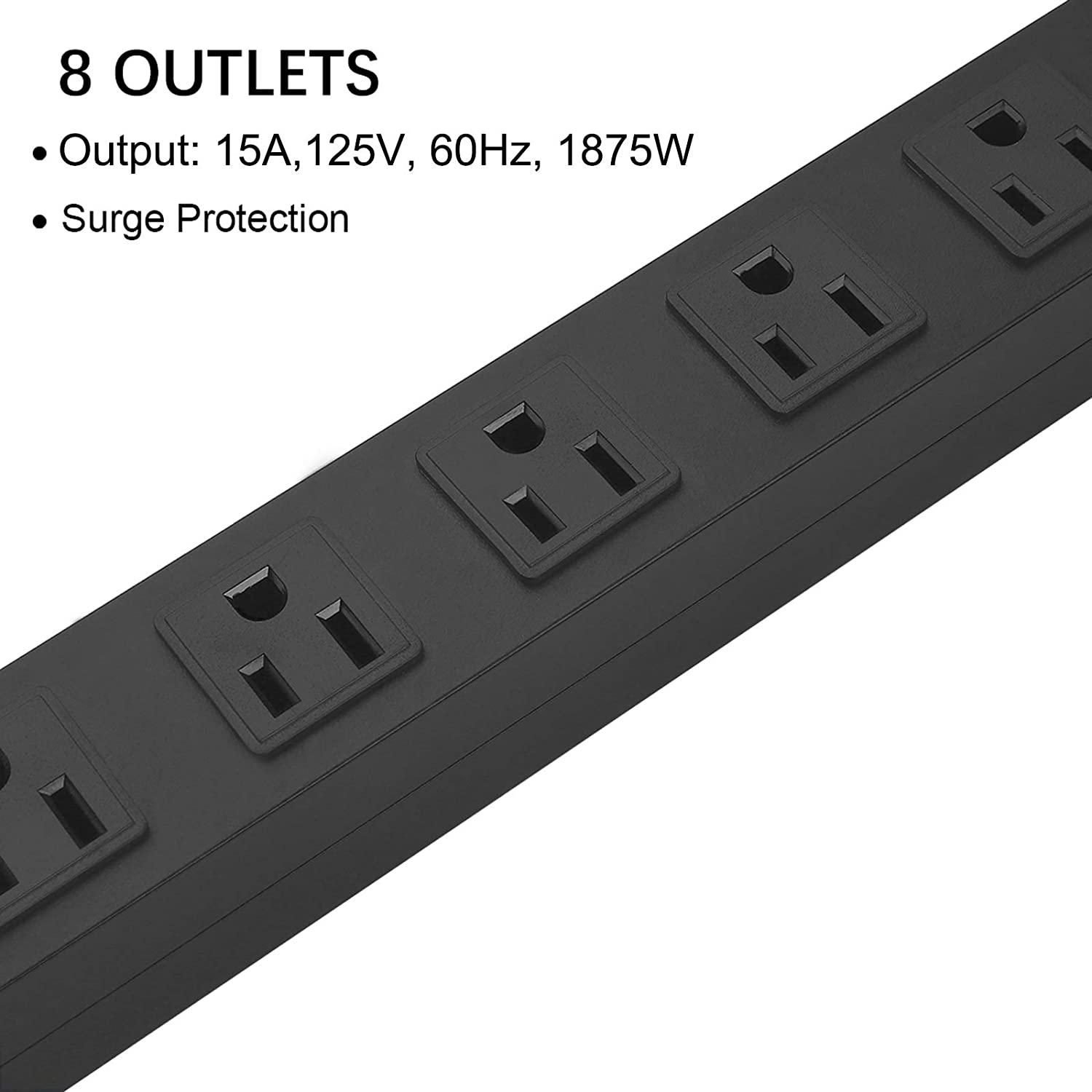 Metal 8 Outlet Mountable Power Strip, Wall Mount Outlet Power Strip Heavy Duty, Wide Spaced Commercial Shop Power Strip with Switch, 15A 125V 1875W, 6 FT SJT 14AWG Power Cord (6FT)