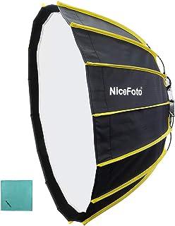 NiceFoto 60cm Tragbare, schnelle Installation Sechseckige Softbox mit weichem Diffusorstoff und Gitterstreifen Regenschirm Design Silberreflektor Softbox für Blitzlichtzubehör von Speedlite Studio