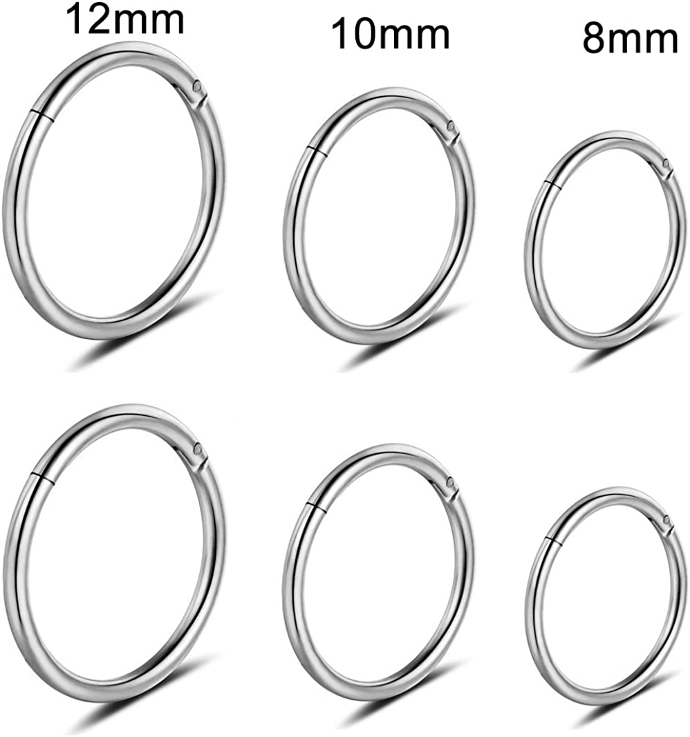 Monily 16G Stainless Steel 3 Pair Sleeper Earrings Clicker Nose Ring Body Piercing for Mens Womens