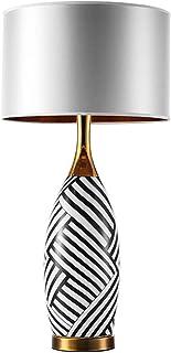 YUXINYAN Lampe de Salon à Poser Grande Lampe de Table Gris TC Opaque Abat-Jour avec Rayures Noires et Blanches de Base Lam...