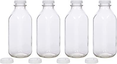 Glass Milk Bottles - USA Made 33.8 oz Jugs with Extra Lids - Set of 4