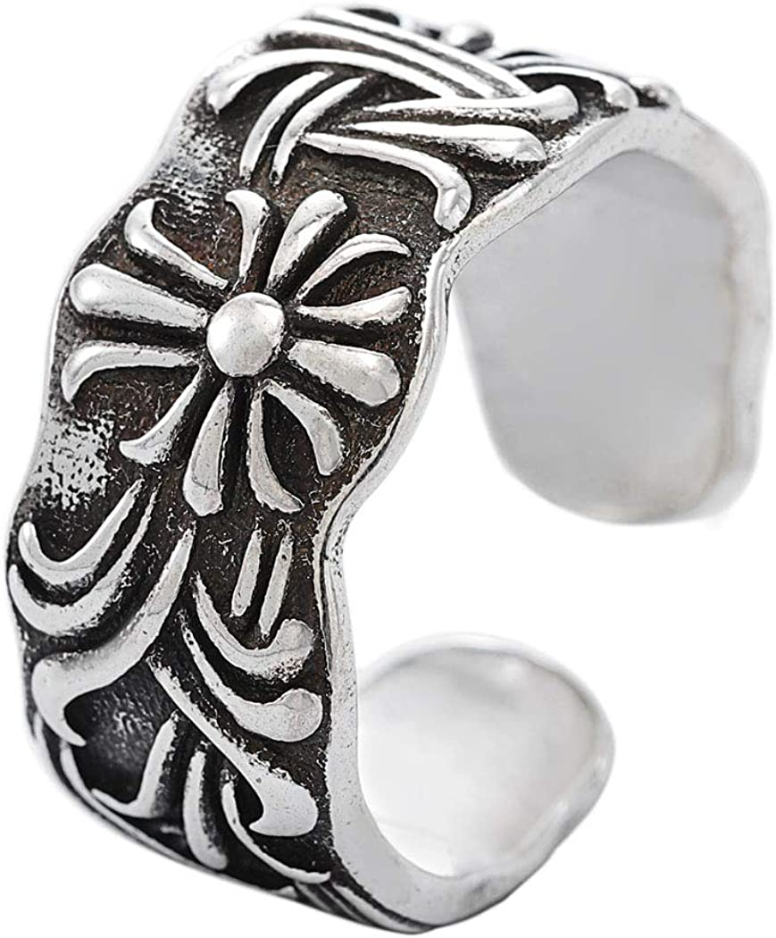 deladola Vintage Stainless Steel Year-end annual account Rings Retro Cross low-pricing Criss Silver