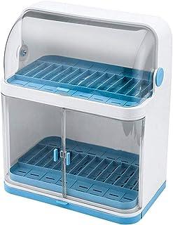 U-HOOME Dish Drying Rack Dust-proof Kitchen Plastic Dish Rack Tableware Storage Box Drain Dishware Lid Double-layer Partit...