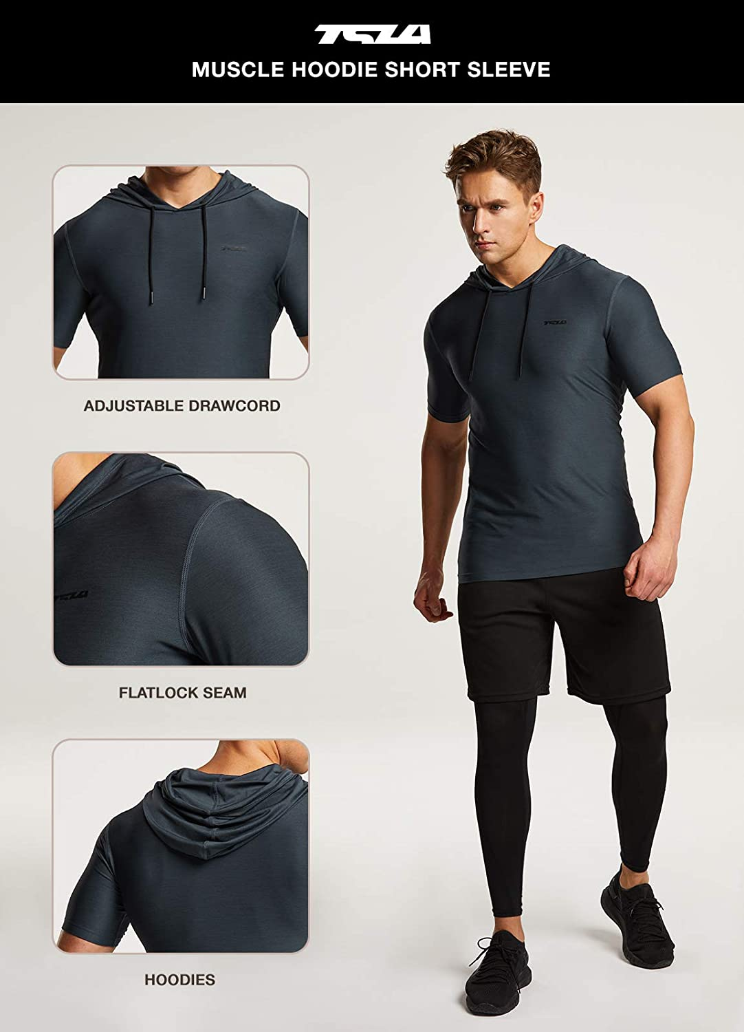 TSLA 3 Pack Men's Short Sleeve Pullover Hoodies, Dry Fit Running Workout Shirts, Athletic Fitness & Gym Shirt: Sports & Outdoors