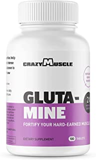 Crazy Muscle L Glutamine Capsules, 1000mg, Post Workout Supplement to Increase Muscle Recovery and Decrease Soreness, Reinforce Strength Gains (100 Pills)