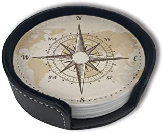 Vintage Nautical Compass Old World Map Funny Coasters For Drinks, Protective Furniture From Damage,Unique Present For Friends (6PCS, Black)