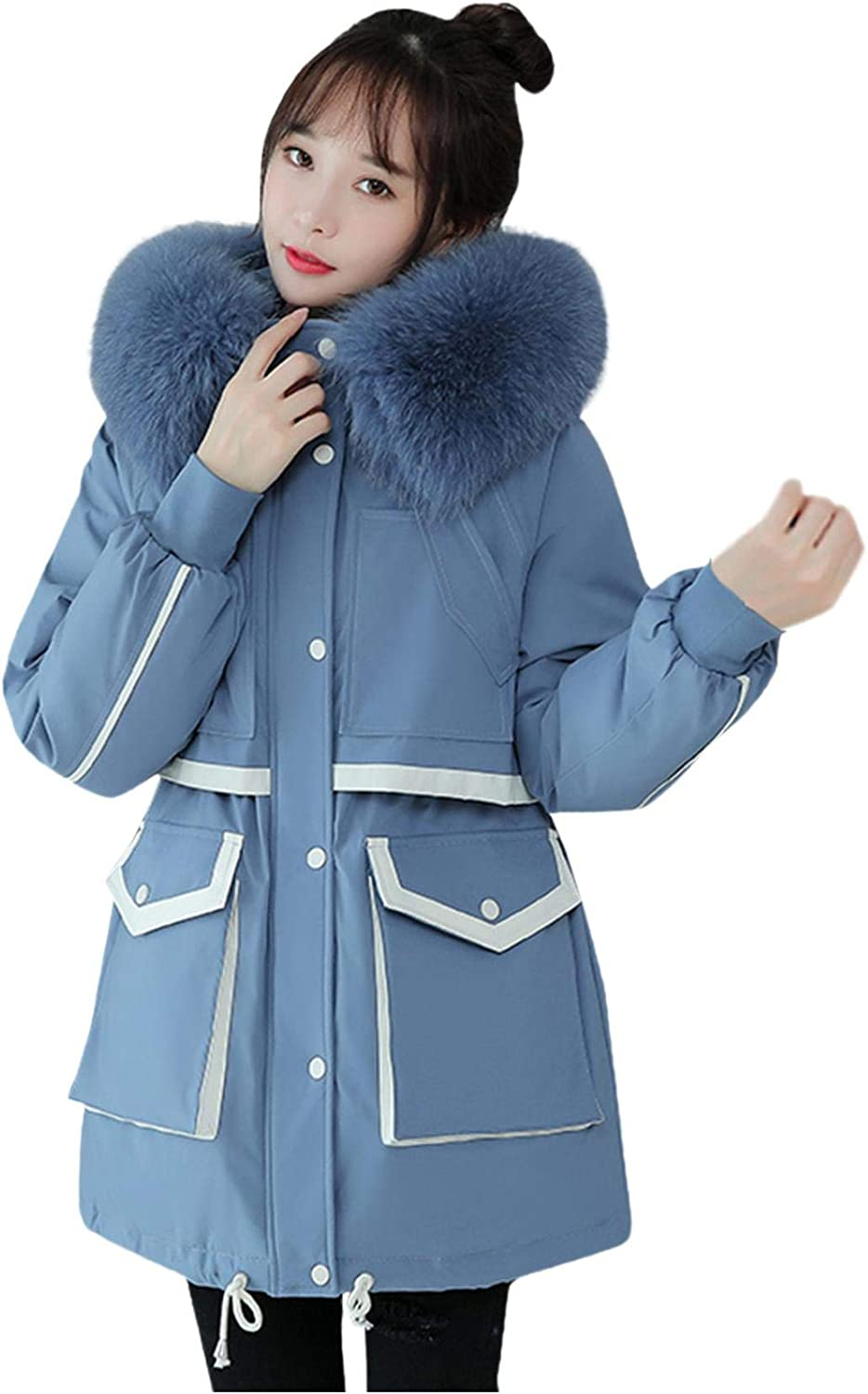 Smileyth Women Winter Long Sleeve Hooded Coat Faux Fur Collar Drawstring Waist Warm Thickened Jacket Outerwear