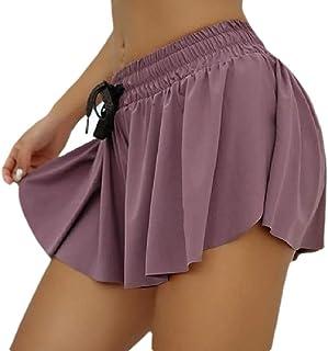 CBTLVSN Women Culottes Casual Elastic-Waist A-Line Drawstring Wide-Leg Short