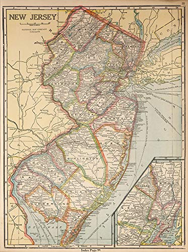Map of New Jersey - 24' x 18'. Printed on premium glossy paper with a border for framing