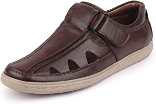 FAUSTO Men's Anti Skid PU Outdoor Roman Sandals