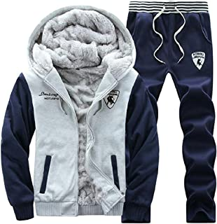 Sodossny-AU Mens 2 Piece Outfits Sport Thick Fleece Lined Tracksuit Sportswear