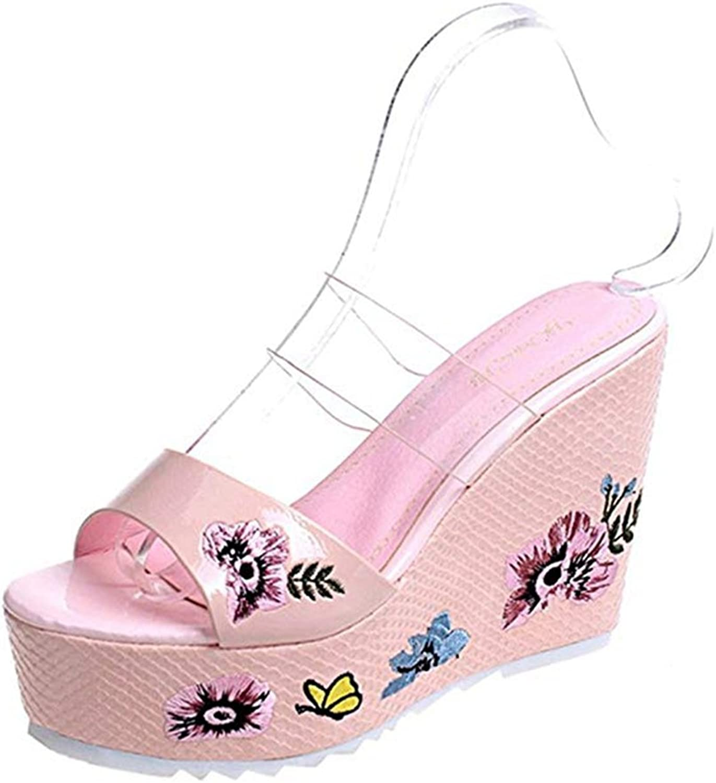 T-JULY Women's Sex Flowers Leather Peep Toe Sandals Platform Wedge Heel Slides Slip on Dress shoes