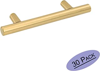30 Pack Gold Cabinet Drawer Pulls Kitchen Hardware - Goldenwarm 201GD76 Brushed Brass Cabinet Door Handles T Bar Cupboard Pull Knobs 3in Hole Centers, 5in Overall Length