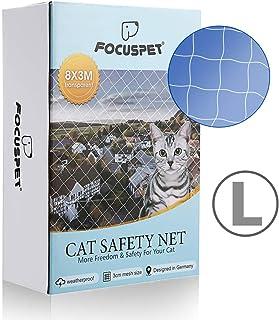 Focuspet Red de Proteccióno para Gatos, Red de Seguridad para Animales en Balcones y Red de para Balcones Grilla de protección Transparente 3X8M
