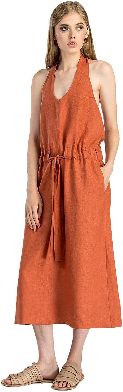 ETNODIM Woman Natural Ukrainian Linen Dress Sarafan Without Sleeves orange Long Casual Dress Sleeveless