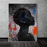 wtnhz Sin Marco Arte Africano Mujer Negra Pintura al óleo Graffiti Lienzo Carteles Impresiones Pared escandinava Lienzo Arte Imagen para Sala de Estar