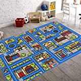 Handcraft Rugs-City Streets Kids Non-Slip Rugs Blue and Multi / Game Carpets for Kids Toy Learning Rug / Kids Floor Rug Play Mat 3 ft. by 5 ft.