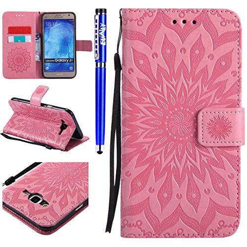 FESELE Kompatibel mit Galaxy J7 2015 Leder Handy Hülle, Sonnenblume Mandala Blumen Muster Flip Case Wallet Case Flip Schutzhülle Brieftasche Hülle Klapphülle mit Kartenfach,Rosa