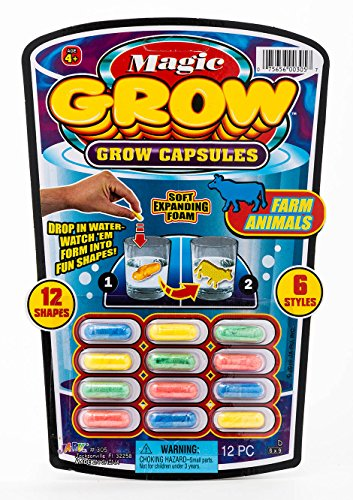 JA-RU Magic Grow Capsules (1 Packs 12 Capsules) Best Growing Animals Dinosaurs Capsules Bath Toys for Kids. and 1 Bouncy Ball. Bulk Supply. 305-1A