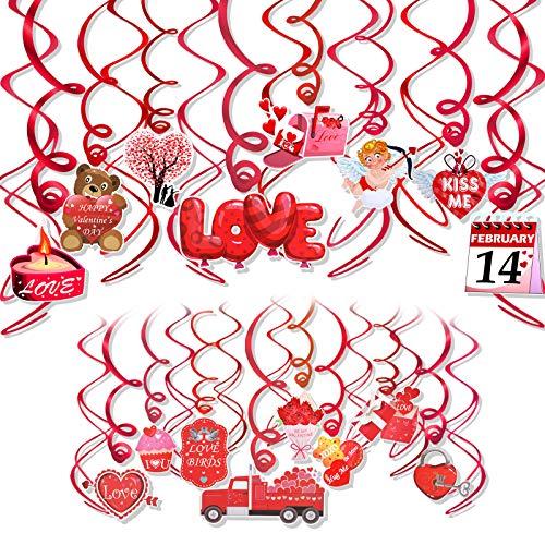 HOWAF Valentines Day Decorations Hanging Swirls,30 PCS Conversation Heart Bear Cupid Flower Valentines Day Swirls Ceiling Decorations Hanging Decor - Valentine's Day Party Decorations Supplies