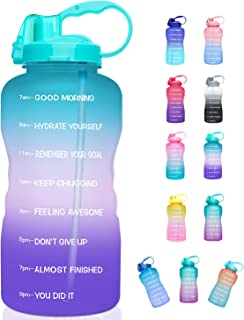 Giotto Large 1 Gallon/128oz (When Full) Motivational Water Bottle with Time Marker & Straw, Leakproof Tritan BPA Free for ...