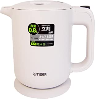 TIGER 虎牌 白色0.8L电水壶 PFY-A08C(白色) (一键装卸式上盖,广口远红外氟素加工内容器,静音防倾倒设计,出水锁定按钮,70秒一杯水即开)