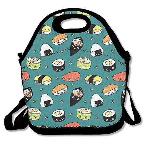 Japan Sushi Kawaii Emotional Ziplock Lunch Tote Bag Portable Handbag Lunch Box Waterproof Insulated Food Container For Boys&Girls School Picnic Office Travel Outdoor