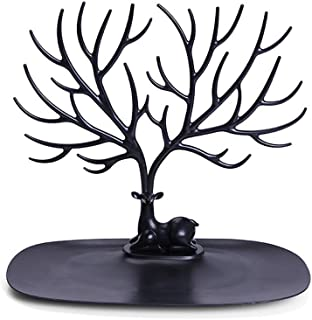 Fan-Ling 1pcs Deer-Head Jewelry Display Stand,Jewelry Pendant Earrings Necklace Display Stand,ewelry Display Holder,Bracelets Display Rack,Watches Display Stand,23cm x 25cm (Black)